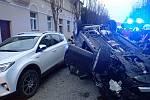 Bouračka dvou aut v Soudní ulici v Kroměříži - 27. 11. 2019