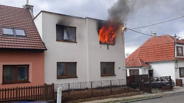 Požár domu v Koryčanech