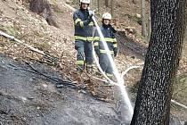Likvidace lesního požáru v okolí Rusavy