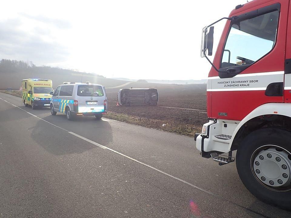 Sobotní nehoda na Kroměřížsku 11. 1. 2020
