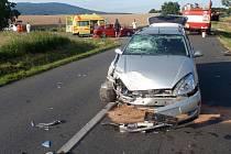 Nehoda osobních aut značek Škoda Fabia combi a Ford Focus mezi Bílavskem a Hlinskem pod Hostýnem