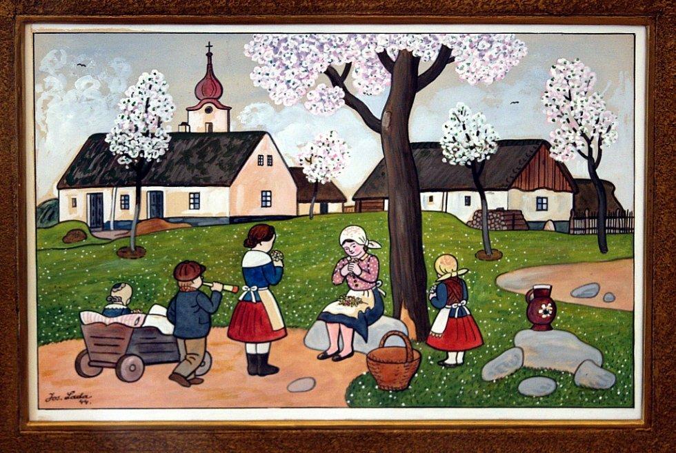 Výstava Čeští ilustrátoři pro děti a mládež na zámku v Holešově. Josef Lada - Jaro 1944