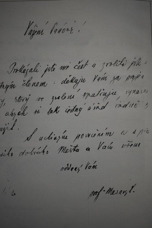 Masarykovo poděkování městské radě ve Valašském Meziříčí za udělení čestného občanství.