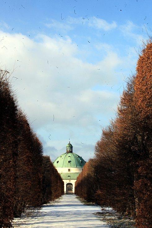 Květná zahrada v Kroměříži pod sněhem - leden 2020