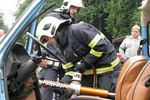 Den dětí na Kamenné chatě na Tesáku, ukázka zásahu hasičů