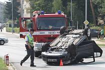 Autonehoda na ulici Kojetínská v Kroměříži.