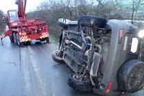 Nehoda Land Roveru mezi Drahlovem a Zlámankou na Kroměřížsku