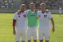 Fotbalisté Kroměříže (červenobílé dresy) se ve 2. kole MOL Cupu utkali s druholigovou Zbrojovkou Brno.