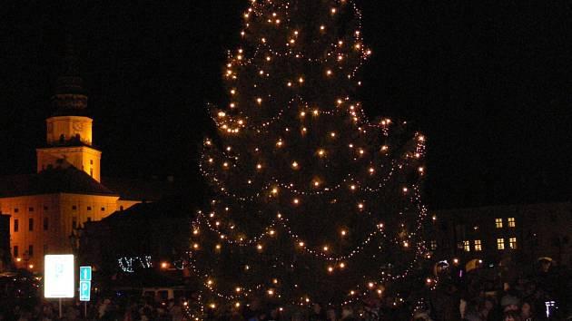 Vánoční strom už zdobí Velké náměstí v Kroměříži. Slavnostnímu rozsvěcení přihlíželo plné náměstí.
