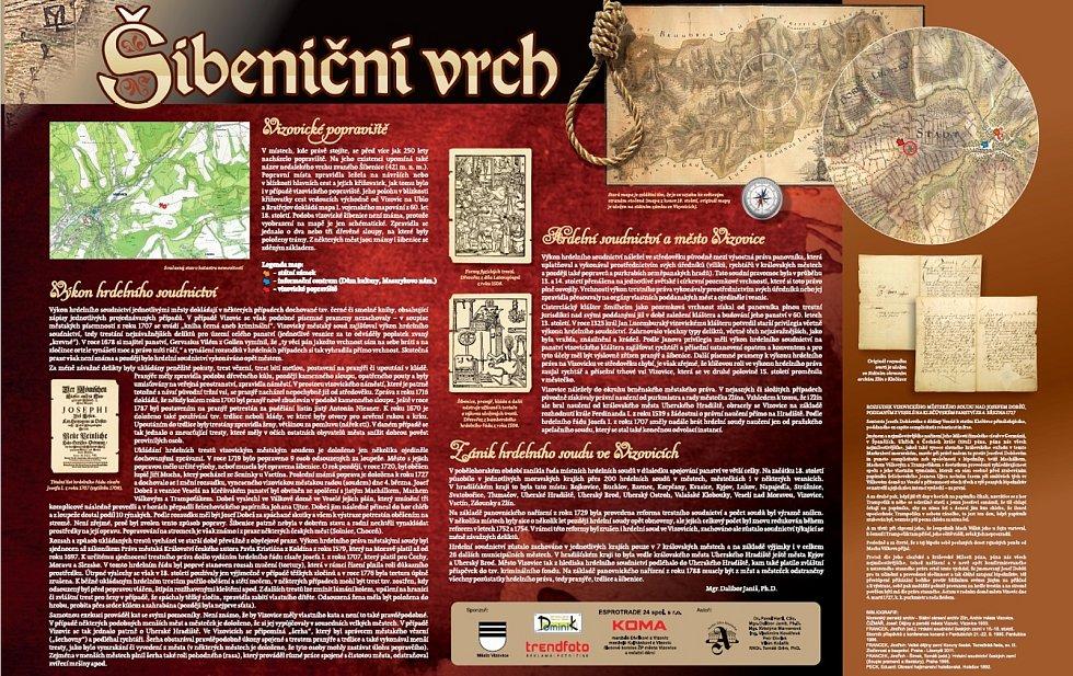Naučná tabule na Šibeničním vrchu ve Vizovicích.