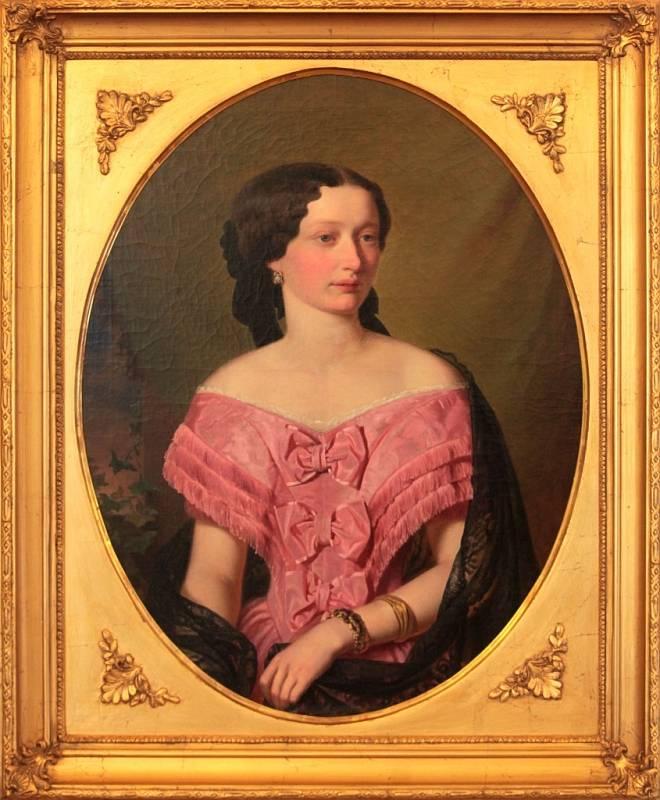 Výstava Mánes na zámku v Holešově. Na snímku Josef Mánes Portrét Jany Kotzové z Dobrše 1861 olej na plátně.