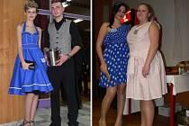 Ples střední školy hotelové a služeb ve stylu padesátých let. Puntíky, krátké sukně a lokny, to vše bylo k vidění.