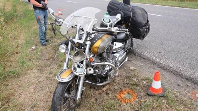 Nehoda řidiče motorky u Třebětic.