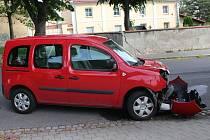 Nehoda opilé řidičky v Kroměříži, 7.6. 2020.