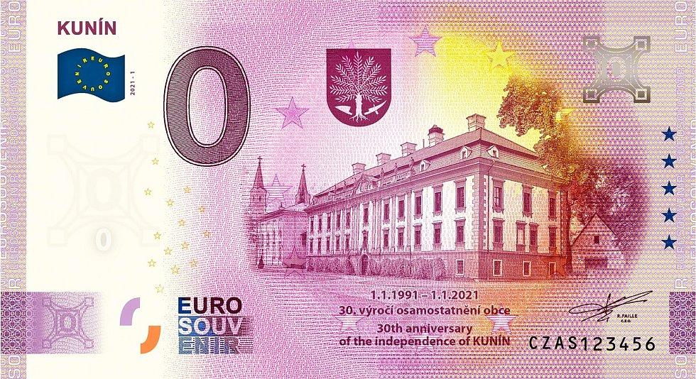 Ústředním motivem eurobankovky, kterou vydává obec Kunín, je místní zámek.