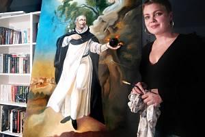 Česko-anglická malířka Rosana de Montfort s obrazem Česlava Odřivouse.