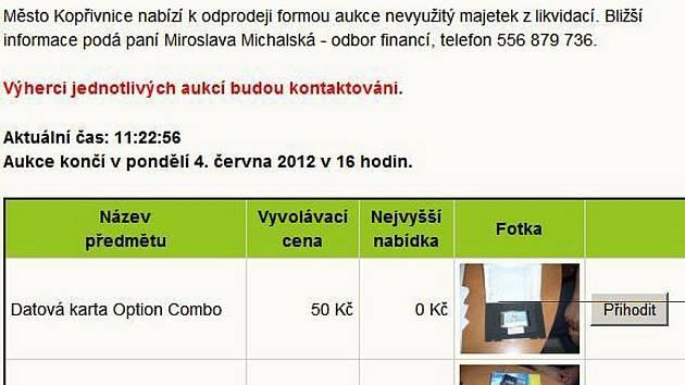 Internetové stránky města Kopřivnice v tuto chvíli patří aukci nevyužitého majetku města.