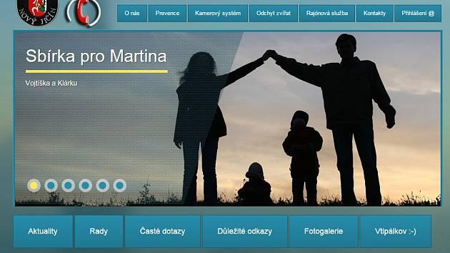 Úvodní strana webu www.mpnj.cz/sbirka-pro-martina/