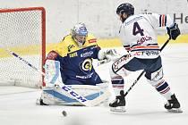 Utkání 32. kola hokejové extraligy: HC Vítkovice Ridera - PSG Berani Zlín, 4. ledna 2019 v Ostravě. Na snímku (zleva) Štůrala Tomáš a Petr Šidlík.
