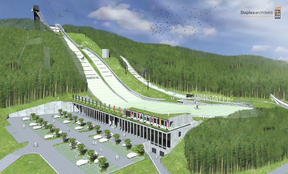 Vizualizace možné podoby skokanského areálu ve Frenštátě pod Radhoštěm.