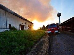 Požár seníku v Petřvaldíku, místní části Petřvaldu.