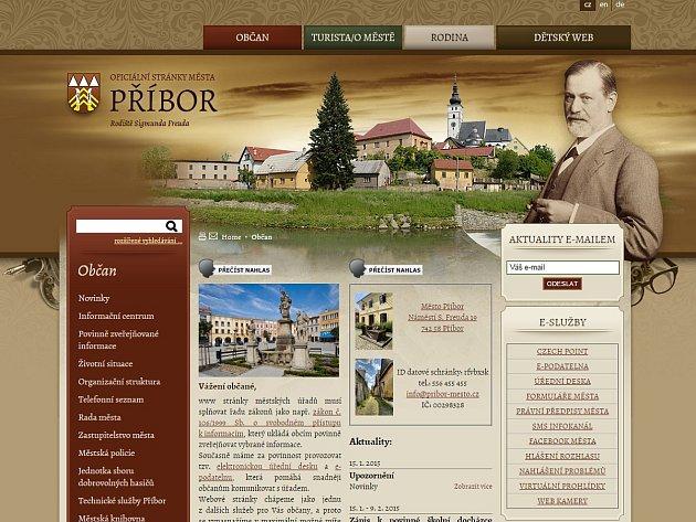 Titulní strana nového webu.