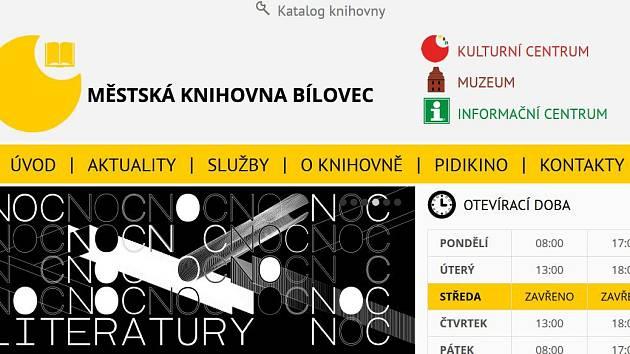 Webová stránka knihovny v Bílovci.