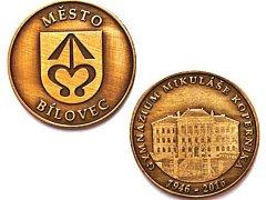 Město Bílovec vydalo u příležitosti 70. výročí založení gymnázia Mikuláše Koperníka pamětní minci.