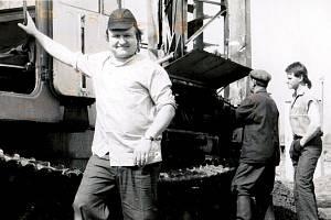 Karel Greiner na stavbě ruského plynovodu Progress v roce 1990.