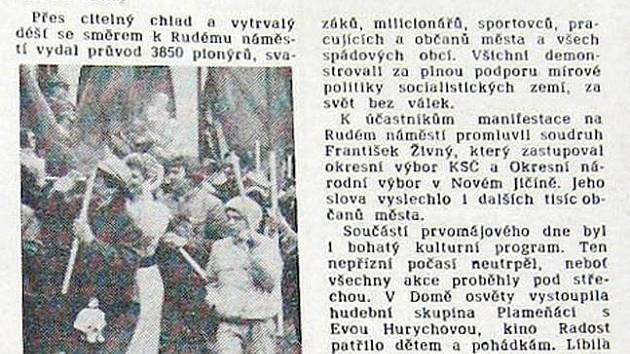 Takto se psalo přesně před dvaceti lety o oslavách 1. máje v Bílovci v Rozkvětu, tehdejším týdeníku Okresního výboru Komunistické strany Československa v Novém Jičíně.
