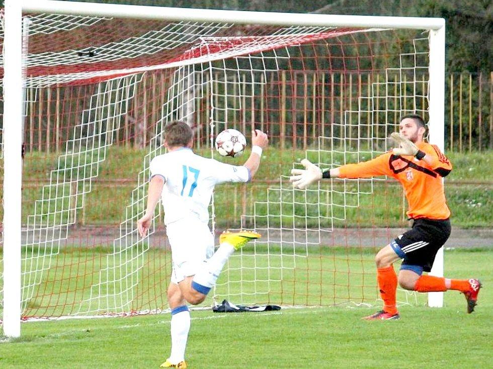 Novojičínský brankář Marek Leskovjan se v sobotním duelu proti celku Vítkovic blýskl chycenou penaltou. Ilustrační foto.
