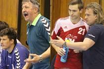 Bývalý trenér české reprezentace Jaroslav Hudeček (vlevo) přišel na lavičku Litovle v únoru, když vystřídal Lubomíra Krejčíře a se svým týmem vyhrál první utkání série. Svěřenci Iva Vávry (vpravo na snímku s Patrikem Fulnekem) však v neděli vrátili úder.