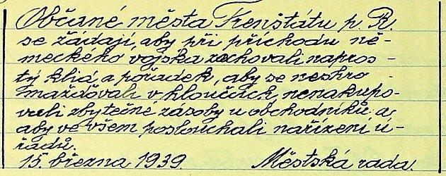 Zvyhlášky Městské rady Frenštátu pod Radhoštěm z15. března roku 1939.