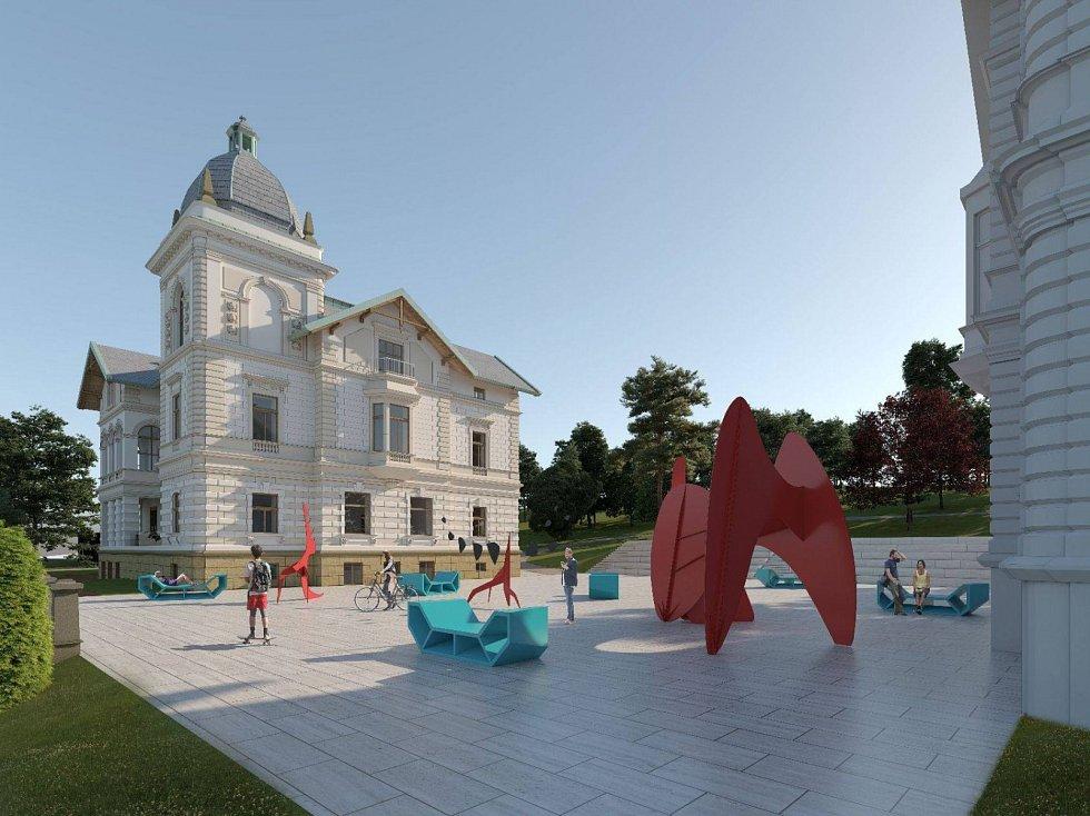 Vizualizace budoucí podoby vily a jejího okolí.