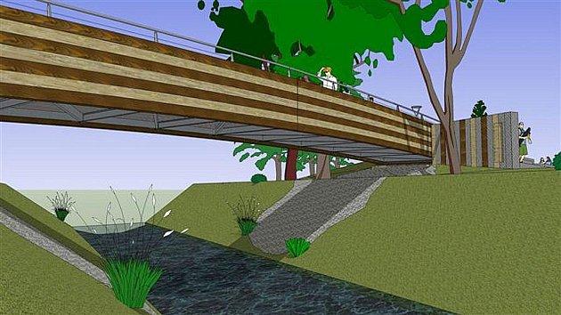 Vizualizace přemostění v podobě dřevěné lávky, které spojí areál se stadionem.