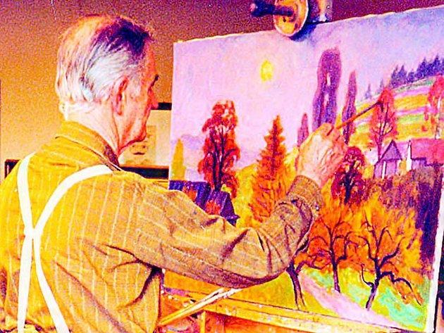 Malíř Jan Hrnčárek z Frenštátu pod Radhoštěm oslavil v týdnu již devětaosmdesáté narozeniny.