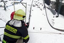 Zhruba sto metrů do kopce, který je s každým krokem prudší, pod nohama vrstva sněhu pod ní klouzavá plastická hmota a lano, coby pomocník. Tak vypadá Velevýdrap do skokanského můstku.