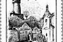 Poštovní známka, na níž je vyobrazeno město Štramberk.