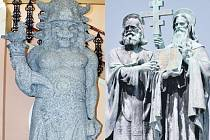 Vlevo: Originál Radegasta je k vidění ve vestibulu frenštátské radnice. Vpravo: Sousoší Cyrila a Metoděje stojí nedaleko kaple na vrcholu.