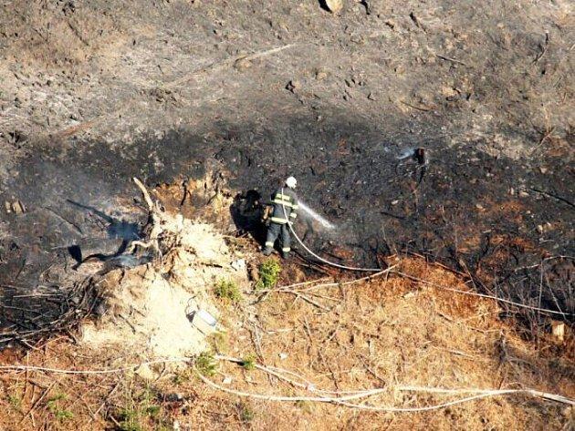 S velkým požárem lesa bojovali v neděli 29. dubna v podvečer hasiči z Oder, Nového Jičína a okolí v Dobešově, místní části Oder.