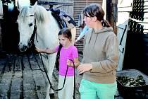Děti i mohly vyzkoušet vyvést koně ze stáje.