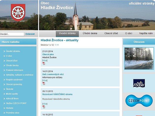 Úvodní webová stránka obce Hladké Životice