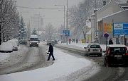 Čerstvá sněhová nadílka v Novém Jičíně, únor 2017.
