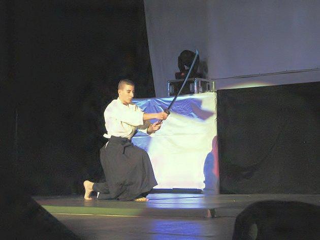 Šestý ročník přehlídky Schody zahájilo vystoupení kopřivnického dojo Aikido pod vedením Marcela Moučky.