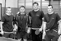 Stolní tenisté TJ MSV Studénka A: zleva Inderský Lukáš, Pupák Ladislav, Neuwirth Jaroslav a Inderský Martin.