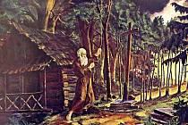 Obraz malíře Jana Knebla zachycuje poustevníka i alej štíhlých buků.
