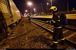 Požár lokomotivy ve Studénce.