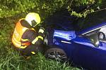 Zásah hasičů u nehody v Hladkých Životicích.