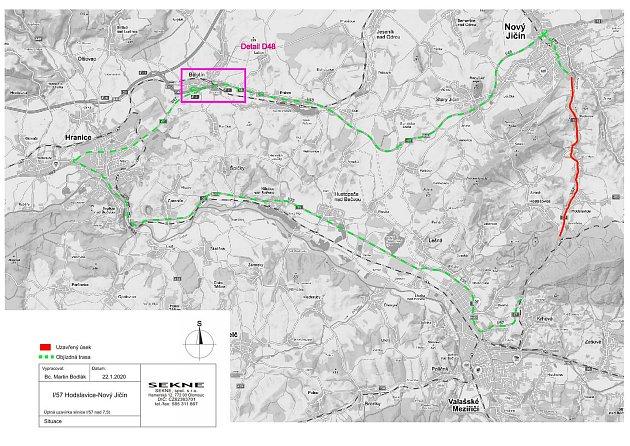Červený úšek bude od 3.března pro tranzitní kamionovou dopravu uzavřen. Objížďka vede přes Hranice na Moravě a je vyznačena zeleně.