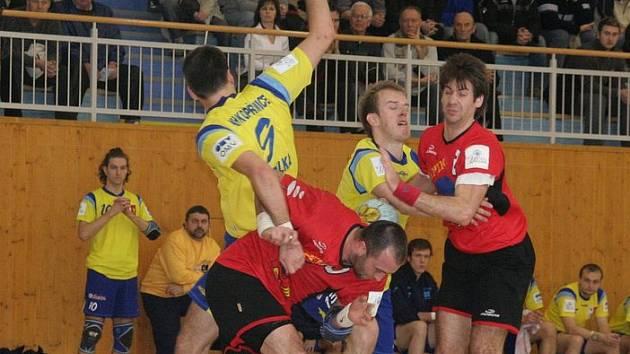 Házenkáři KH Kopřivnice v domácím utkání ZUBR extraligy stačili s favorizovaným Prešovanem držet krok pouze první půli. Ilustrační foto.